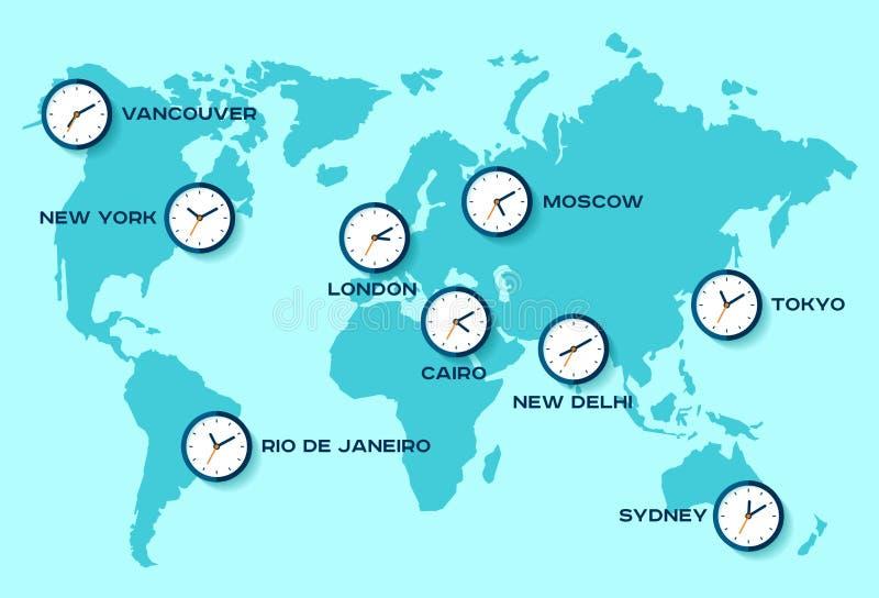 απομονωμένος άσπρος κόσμος Υόρκη τριών ρολογιών του χρονικού Τόκιο του Λονδίνου νέος Απλά εικονίδια ρολογιών στον παγκόσμιο χάρτη διανυσματική απεικόνιση