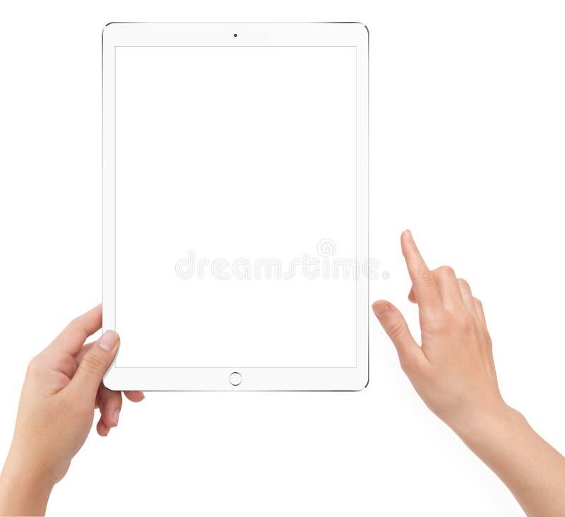 Απομονωμένος ανθρώπινος αριστερός υπολογιστής ταμπλετών εκμετάλλευσης άσπρος στοκ εικόνες με δικαίωμα ελεύθερης χρήσης
