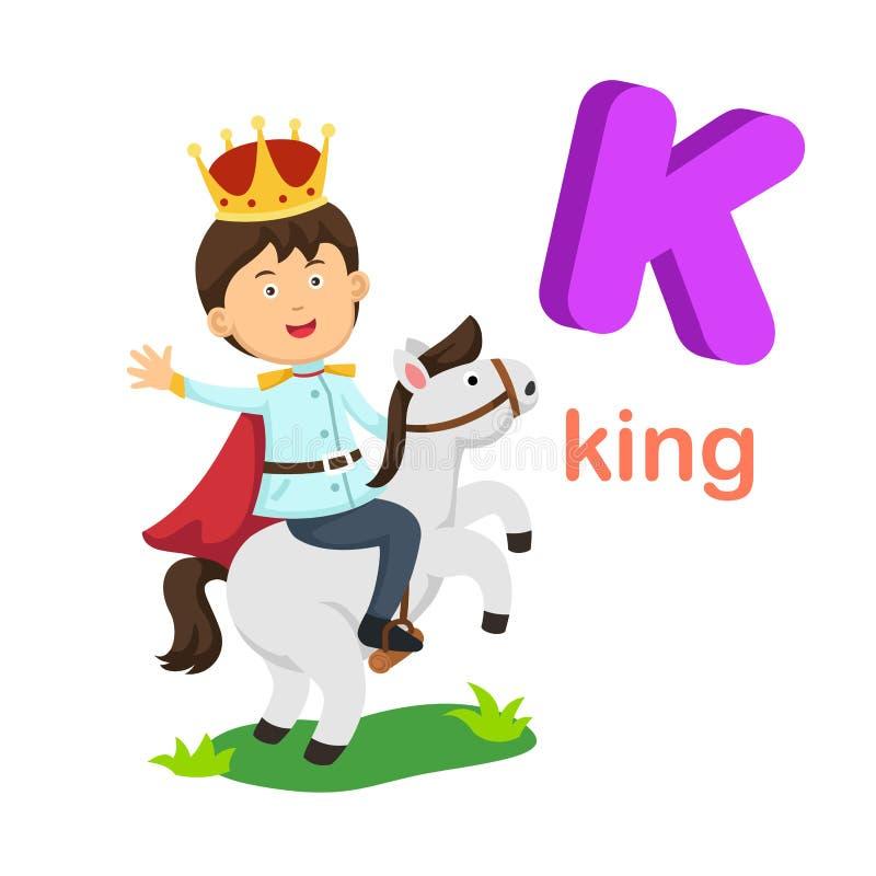Απομονωμένος απεικόνιση βασιλιάς γραμμάτων Κ αλφάβητου διανυσματική απεικόνιση