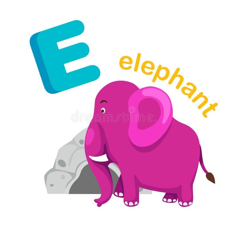 Απομονωμένος απεικόνιση ελέφαντας γραμμάτων Ε αλφάβητου ελεύθερη απεικόνιση δικαιώματος