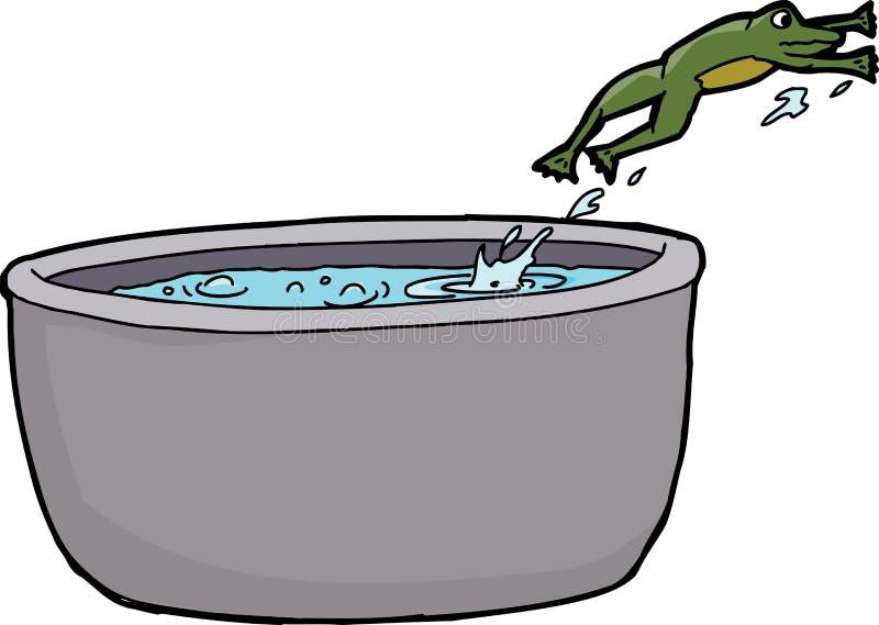Απομονωμένος βάτραχος που δραπετεύει το ζεστό νερό απεικόνιση αποθεμάτων