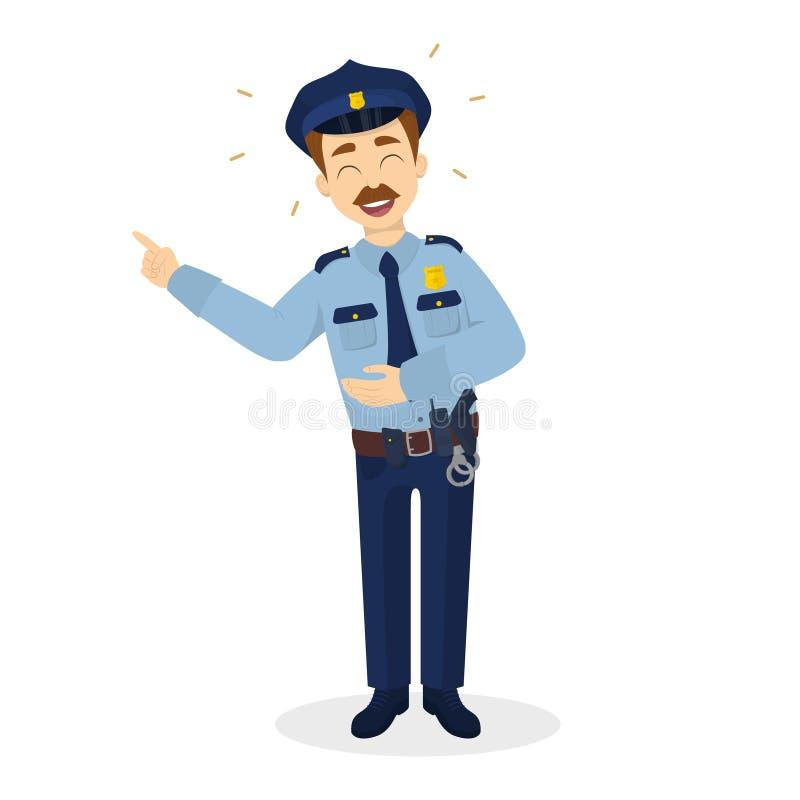Απομονωμένος γελώντας αστυνομικός απεικόνιση αποθεμάτων