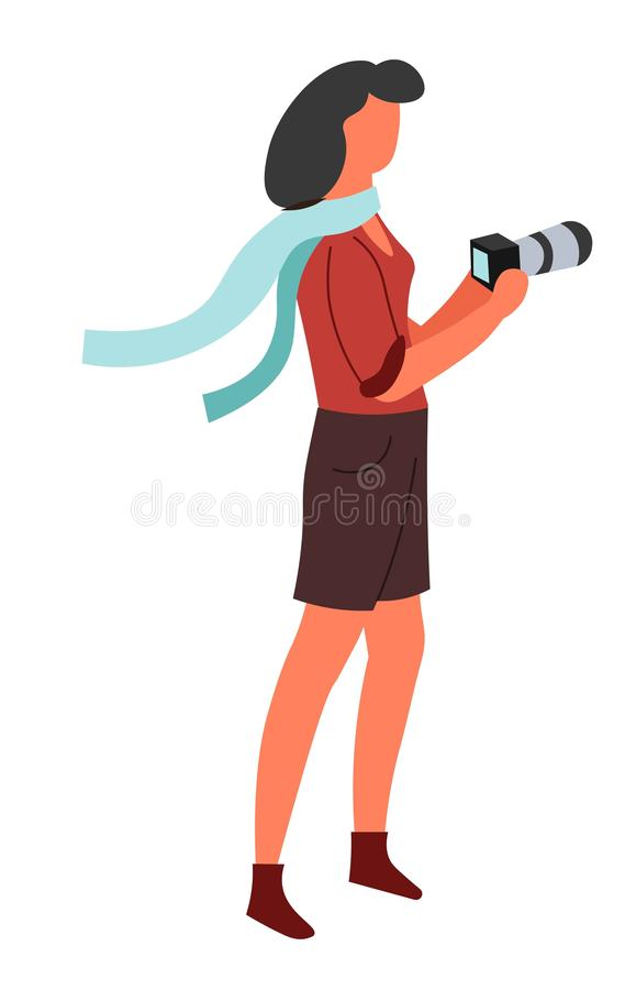 Απομονωμένος θηλυκός φωτογράφος χαρακτήρα φωτογραφιών κάμερα με την ψηφιακή συσκευή διανυσματική απεικόνιση