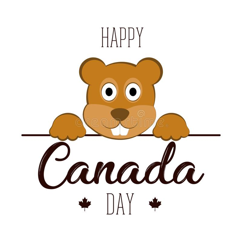 Απομονωμένος κάστορας εικονίδια ημέρας του Καναδά κουμπιών που τίθενται απεικόνιση αποθεμάτων