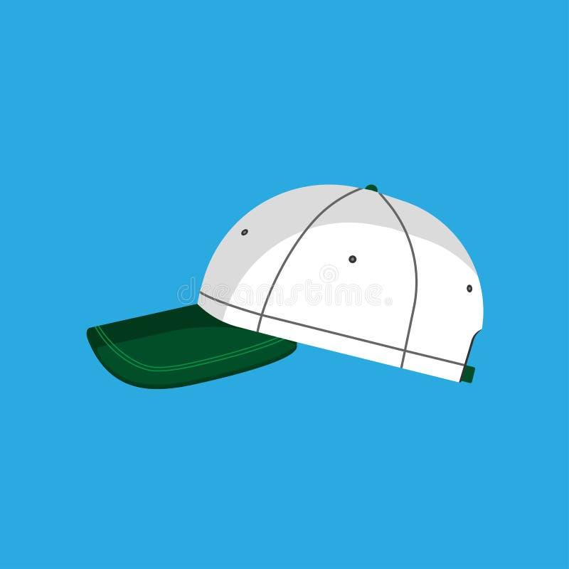 Απομονωμένος καπέλο ιματισμός εικονιδίων καπέλων του μπέιζμπολ διανυσματικός επίπεδος Βοηθητικό γείσο αθλητικού ομοιόμορφο βαμβακ διανυσματική απεικόνιση