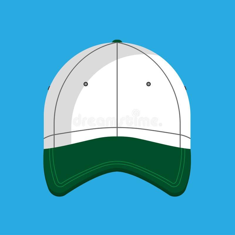 Απομονωμένος καπέλο ιματισμός εικονιδίων καπέλων του μπέιζμπολ διανυσματικός επίπεδος Βοηθητικό γείσο αθλητικού ομοιόμορφο βαμβακ απεικόνιση αποθεμάτων