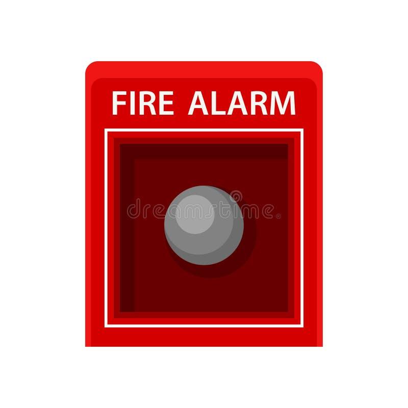 απομονωμένος καπνός μονοπατιών πυρκαγιάς ανιχνευτών ψαλιδίσματος συναγερμών εικόνα Κόκκινο παράθυρο μετάλλων με το κουμπί Σήμα πρ διανυσματική απεικόνιση