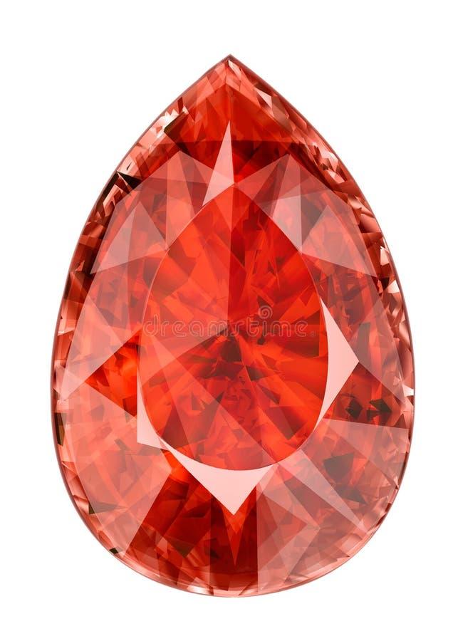 Απομονωμένος κόκκινος πολύτιμος λίθος Απεικόνιση της εδροτομημένης πολύτιμους λίθους πέτρας στη μορφή απεικόνιση αποθεμάτων