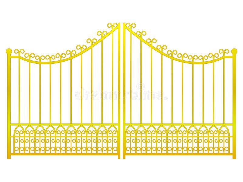 Απομονωμένος κλειστός χρυσός φράκτης πυλών στο άσπρο διάνυσμα διανυσματική απεικόνιση