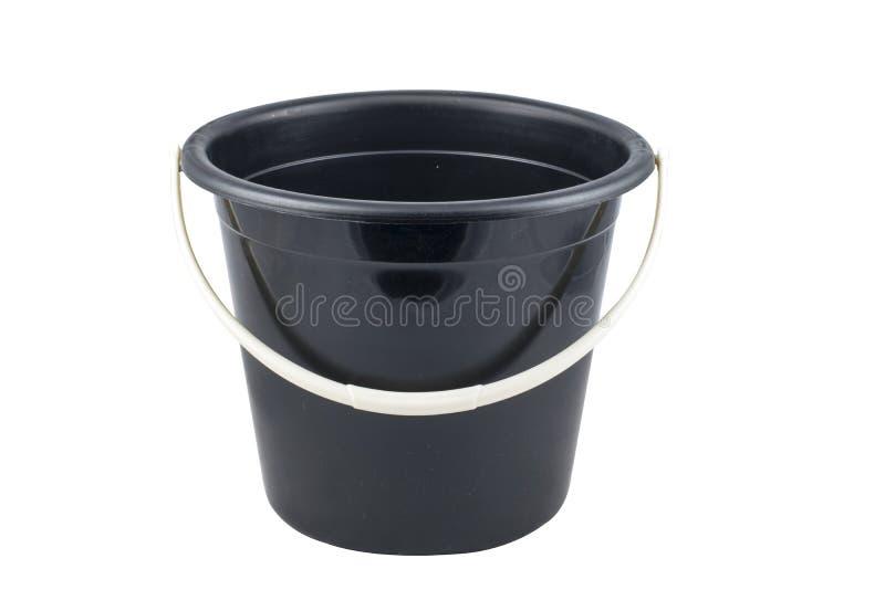 Απομονωμένος μαύρος πλαστικός κάδος στοκ εικόνα