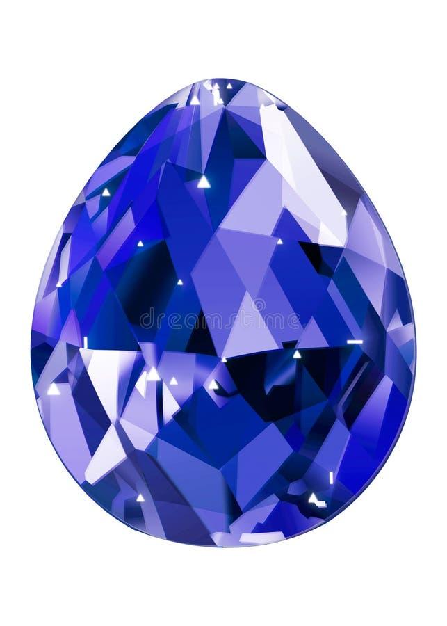 Απομονωμένος μπλε πολύτιμος λίθος στο άσπρο υπόβαθρο Πολύτιμο εδροτομημένο πολύτιμους λίθους sto ελεύθερη απεικόνιση δικαιώματος