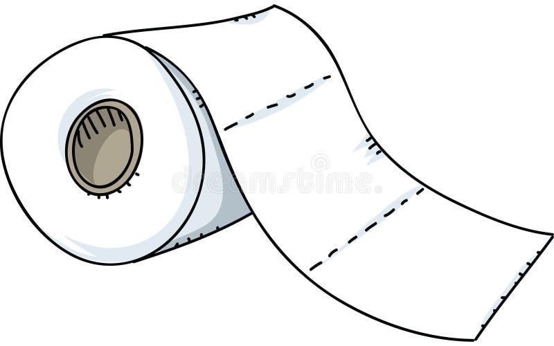 απομονωμένος πέρα από το λευκό τουαλετών ρόλων εγγράφου απεικόνιση αποθεμάτων