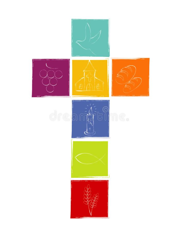 Απομονωμένος σταυρός με τα άσπρα χριστιανικά σύμβολα Σταυρός με τα χρωματισμένα τετράγωνα θρησκευτικό σημάδι ελεύθερη απεικόνιση δικαιώματος