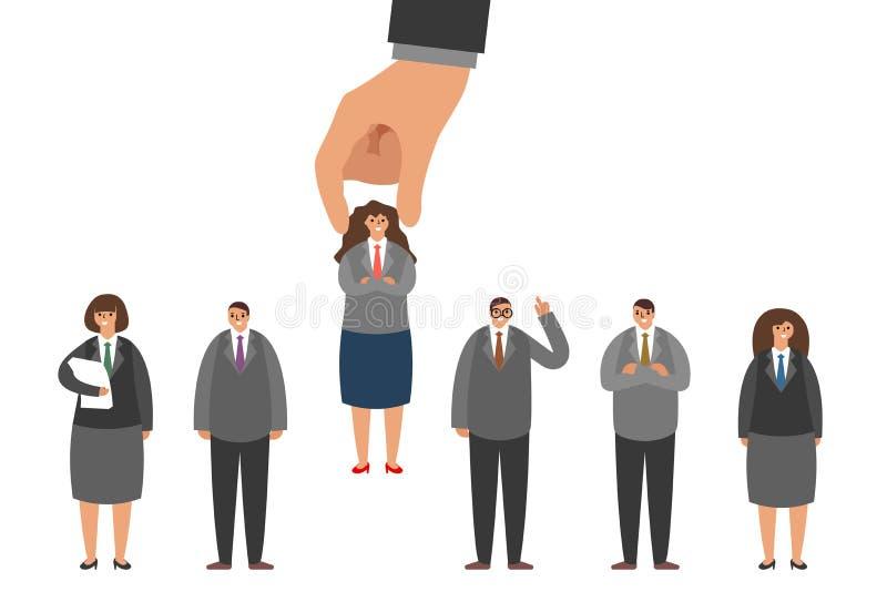 Απομονωμένος στην άσπρη πρόσληψη εργοδοτών επιλογής υποψηφίων εργασίας του ανθρώπινου δυναμικού που επιλέγει την έννοια προσωπικο διανυσματική απεικόνιση