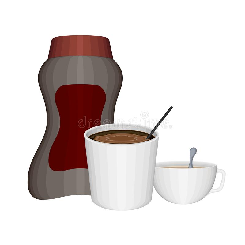 Απομονωμένος στιγμιαίος επίγειος καφές με την κρέμα ελεύθερη απεικόνιση δικαιώματος