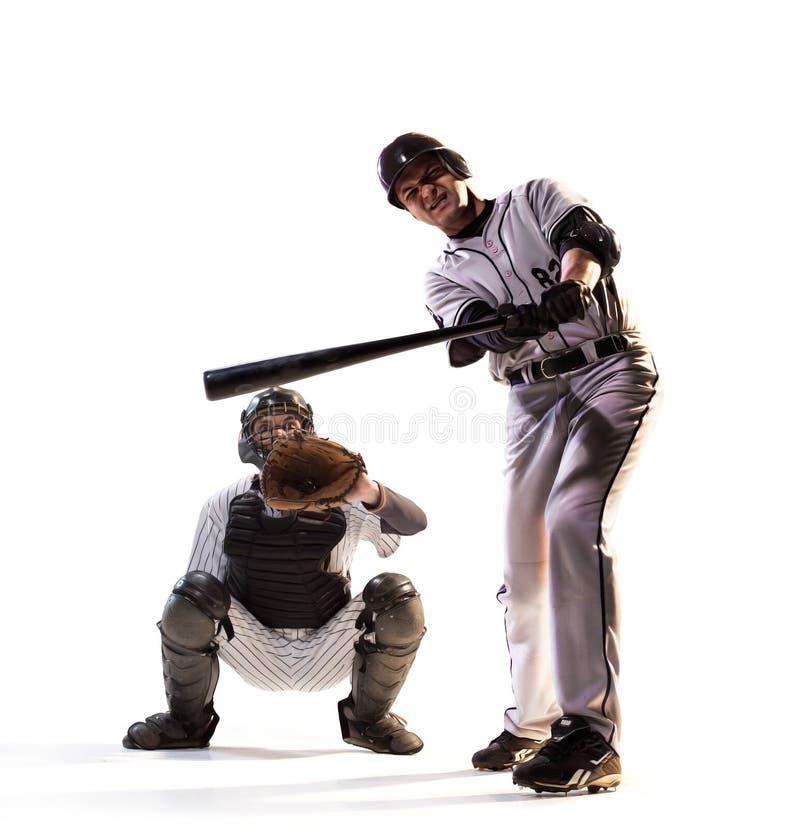 Απομονωμένος στους λευκούς επαγγελματικούς παίχτες του μπέιζμπολ στοκ φωτογραφία