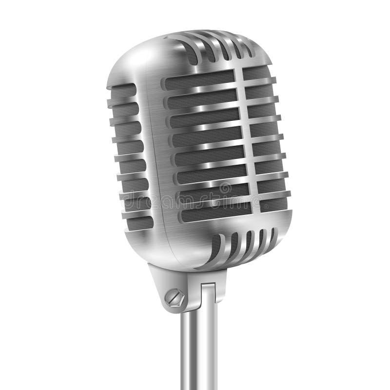 Απομονωμένος στο άσπρο μεταλλικό αναδρομικό μικρόφωνο. απεικόνιση αποθεμάτων