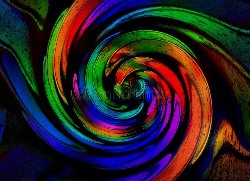 Απομονωμένος στο μαύρο fractal διακοσμήσεων χαλκού χαλκού γεωμετρικό αφηρημένο σπειροειδές υπόβαθρο σχεδίων Σπειροειδής επίδραση  απεικόνιση αποθεμάτων
