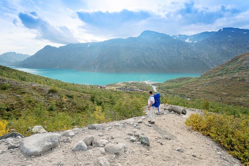 Απομονωμένος ταξιδιώτης στο εθνικό πάρκο Jotunheimen στοκ εικόνα