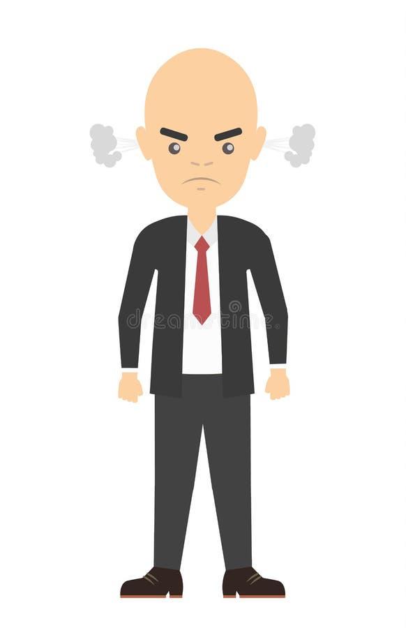 Απομονωμένος 0 φαλακρός επιχειρηματίας απεικόνιση αποθεμάτων