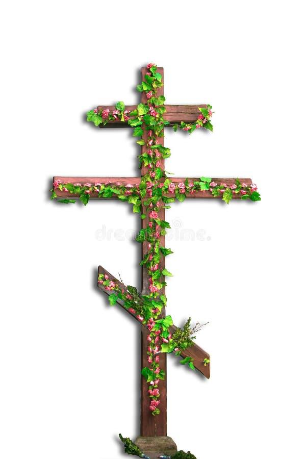 Απομονωμένος χριστιανικός σταυρός με τα λουλούδια διανυσματική απεικόνιση
