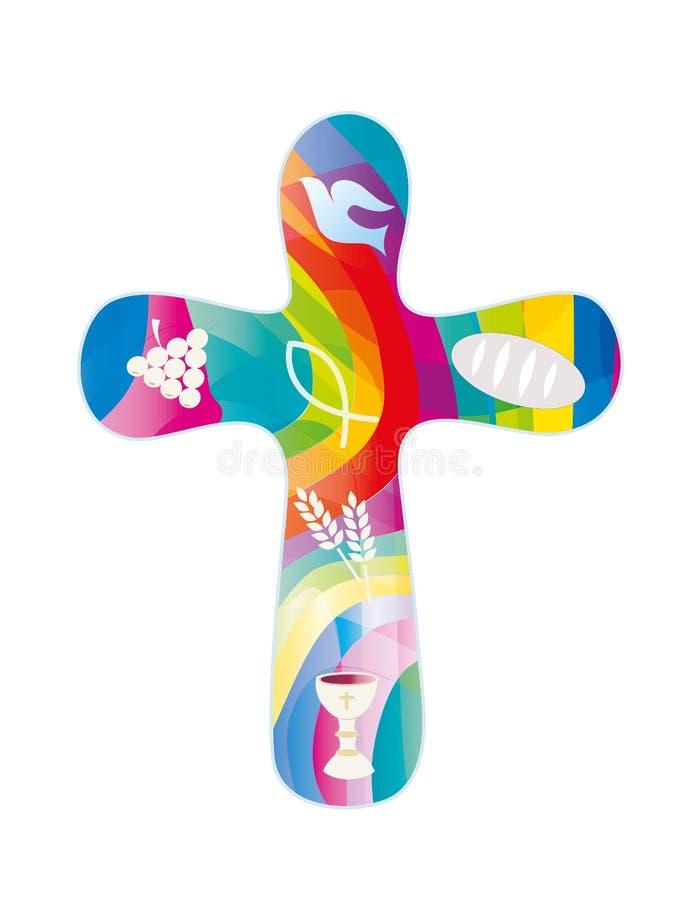 Απομονωμένος χριστιανικός σταυρός με τα χριστιανικά σύμβολα στο υπόβαθρο μωσαϊκών με τα φωτεινά χρώματα θρησκευτικό σημάδι διανυσματική απεικόνιση