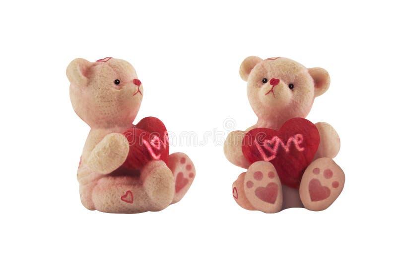 Απομονωμένος teddy αντέχει μια φωτογραφία αναμνηστικών καρδιών στοκ φωτογραφία με δικαίωμα ελεύθερης χρήσης