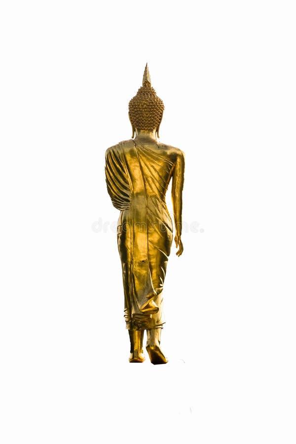Απομονωμένο άγαλμα του χρυσού Βούδα από πίσω στο άσπρο υπόβαθρο στοκ φωτογραφία με δικαίωμα ελεύθερης χρήσης