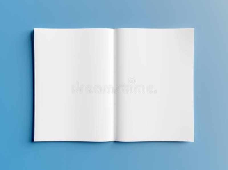 Απομονωμένο άσπρο ανοικτό πρότυπο περιοδικών στην μπλε τρισδιάστατη απόδοση διανυσματική απεικόνιση