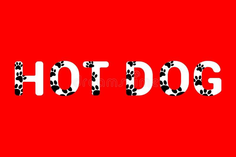 Απομονωμένο άσπρο κείμενο χοτ-ντογκ με τις μαύρες τυπωμένες ύλες ποδιών σκυλιών Τυπογραφία με τη ζωική τυπωμένη ύλη ποδιών στοκ φωτογραφίες