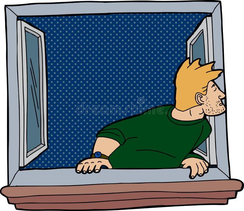 Απομονωμένο άτομο στο παράθυρο ελεύθερη απεικόνιση δικαιώματος