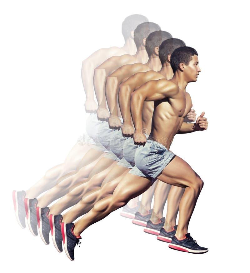 απομονωμένο έννοια αθλητικό λευκό Άτομο δρομέων Απομονωμένος στο λευκό διανυσματική απεικόνιση