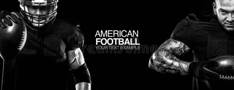 απομονωμένο έννοια αθλητικό λευκό Φορέας αθλητικών τύπων αμερικανικού ποδοσφαίρου στο μαύρο υπόβαθρο με το διάστημα αντιγράφων απ στοκ εικόνες