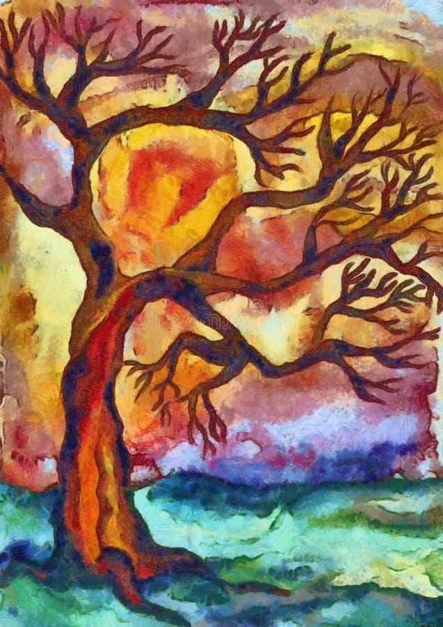 απομονωμένο δέντρο ηλιοβασιλέματος διανυσματική απεικόνιση