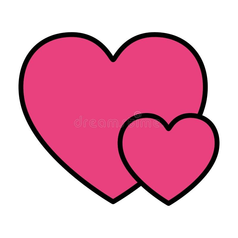 Απομονωμένο αγάπη εικονίδιο καρδιών απεικόνιση αποθεμάτων