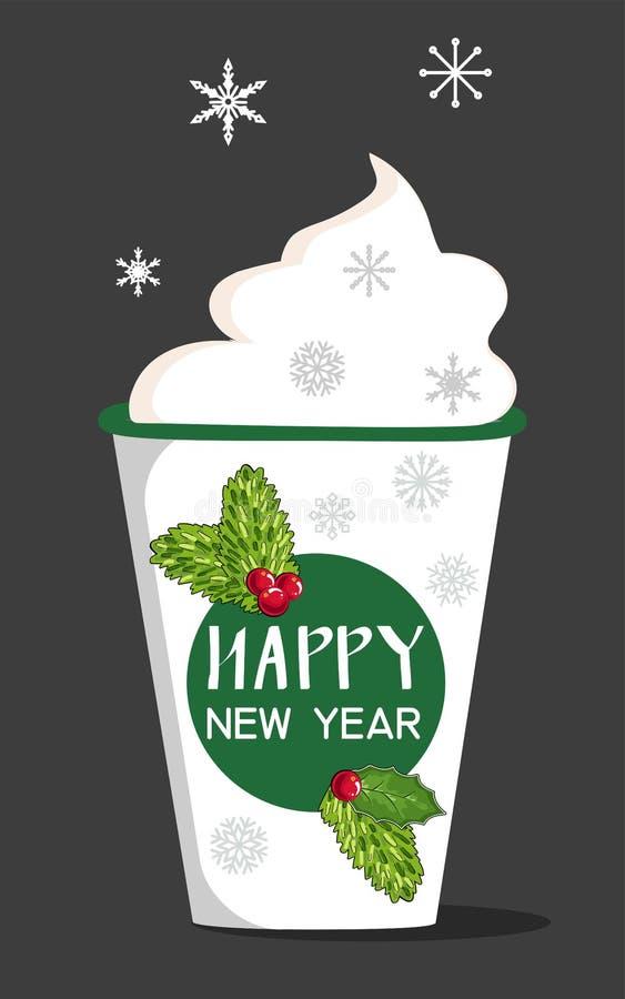 Απομονωμένο αντικείμενο ενός φλιτζανιού του καφέ συρμένο Χριστούγεννα χέρι &k Χαρούμενα Χριστούγεννα και νέα τυπογραφία έτους Χαρ ελεύθερη απεικόνιση δικαιώματος