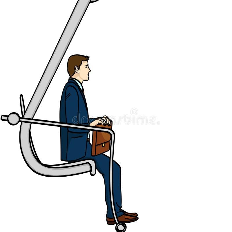 Απομονωμένο αντικείμενο στο άσπρο υπόβαθρο, επιχειρηματίας στη σκάλα σταδιοδρομίας Ένα άτομο αναρριχείται σε έναν εκσκαφέα Ένα κω διανυσματική απεικόνιση