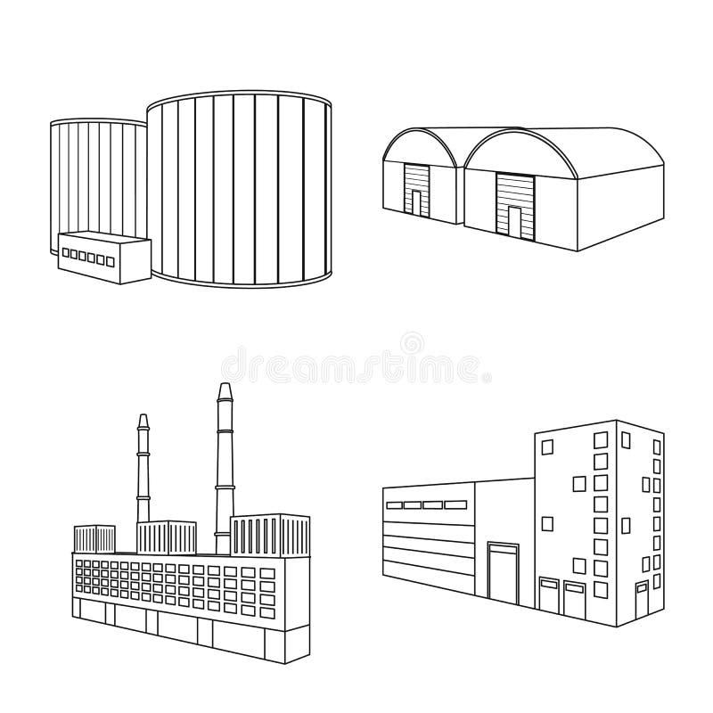 Απομονωμένο αντικείμενο της αρχιτεκτονικής και του βιομηχανικού εικονιδίου Σύνολο διανυσματικής απεικόνισης αποθεμάτων αρχιτεκτον ελεύθερη απεικόνιση δικαιώματος
