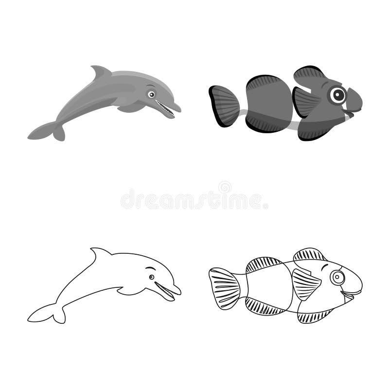 Απομονωμένο αντικείμενο της θάλασσας και του ζωικού εικονιδίου Συλλογή της θάλασσας και του θαλάσσιου συμβόλου αποθεμάτων για τον ελεύθερη απεικόνιση δικαιώματος