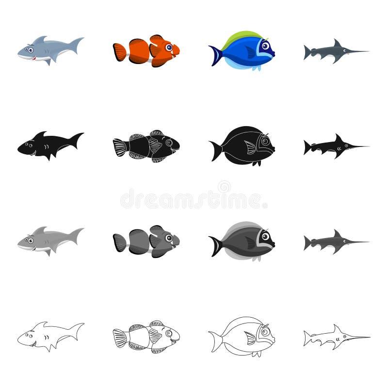 Απομονωμένο αντικείμενο της θάλασσας και του ζωικού εικονιδίου Συλλογή της θάλασσας και θαλάσσια διανυσματική απεικόνιση αποθεμάτ διανυσματική απεικόνιση