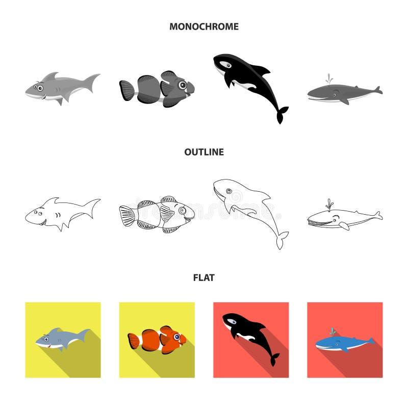 Απομονωμένο αντικείμενο της θάλασσας και του ζωικού λογότυπου Σύνολο θάλασσας και θαλάσσιου διανυσματικού εικονιδίου για το απόθε απεικόνιση αποθεμάτων