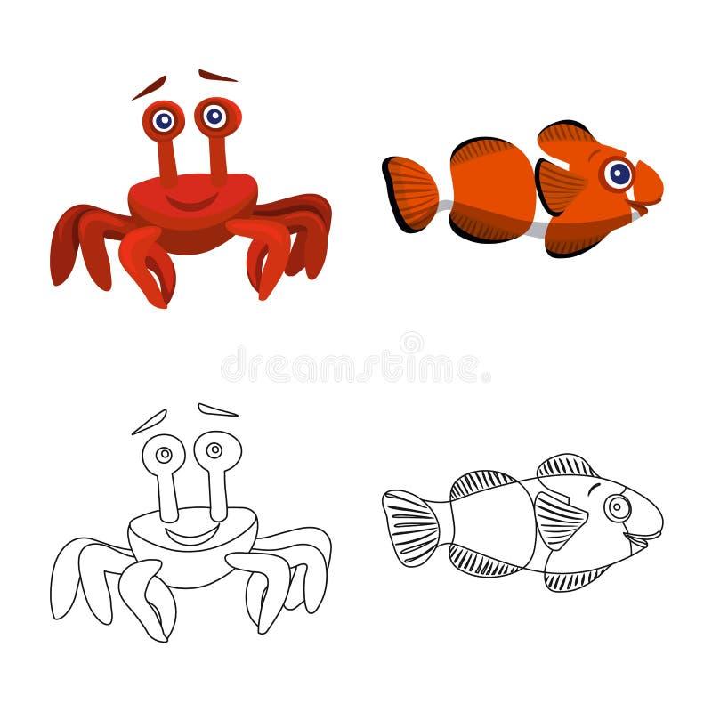 Απομονωμένο αντικείμενο της θάλασσας και του ζωικού λογότυπου Σύνολο θάλασσας και θαλάσσιου διανυσματικού εικονιδίου για το απόθε διανυσματική απεικόνιση