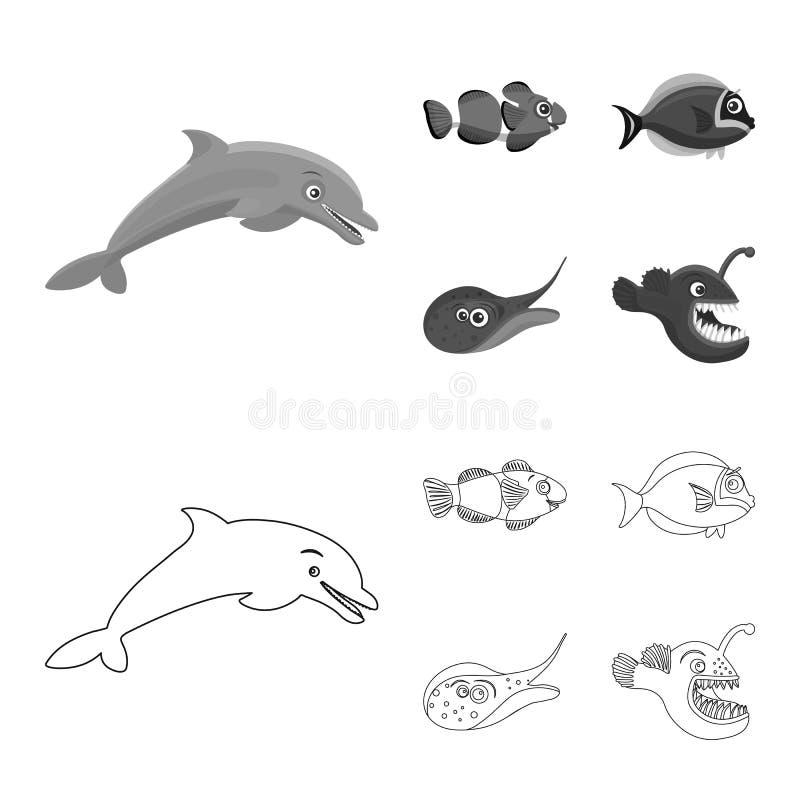 Απομονωμένο αντικείμενο της θάλασσας και του ζωικού σημαδιού Σύνολο θάλασσας και θαλάσσιου συμβόλου αποθεμάτων για τον Ιστό διανυσματική απεικόνιση
