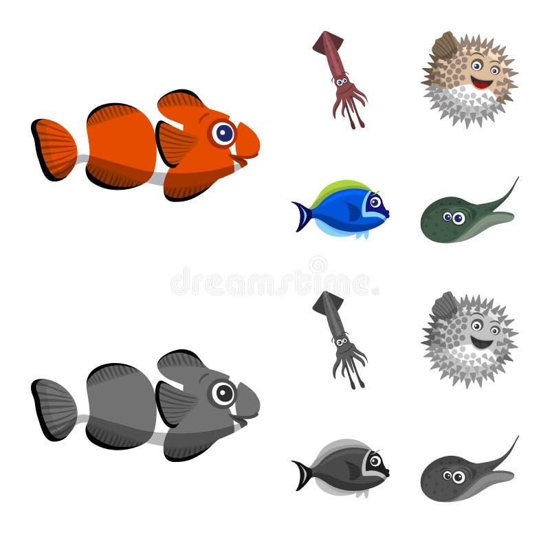 Απομονωμένο αντικείμενο της θάλασσας και του ζωικού συμβόλου Συλλογή της θάλασσας και του θαλάσσιου διανυσματικού εικονιδίου για  ελεύθερη απεικόνιση δικαιώματος