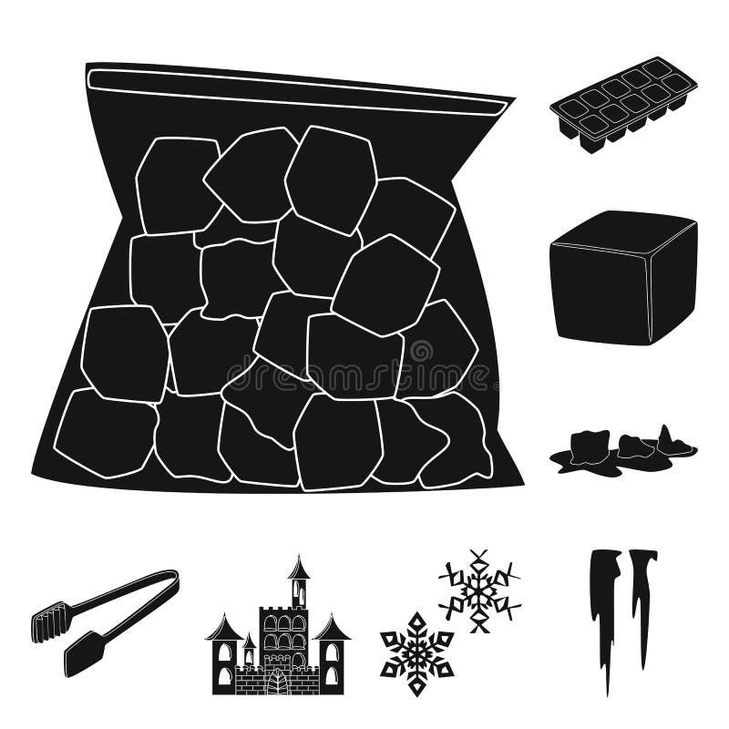 Απομονωμένο αντικείμενο του κρύου και διαφανούς σημαδιού Σύνολο κρύου και συμβόλου αποθεμάτων νερού για τον Ιστό διανυσματική απεικόνιση
