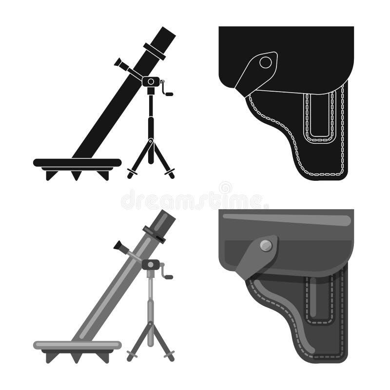 Απομονωμένο αντικείμενο του λογότυπου όπλων και πυροβόλων όπλων Σύνολο διανυσματικού εικονιδίου όπλων και στρατού για το απόθεμα διανυσματική απεικόνιση