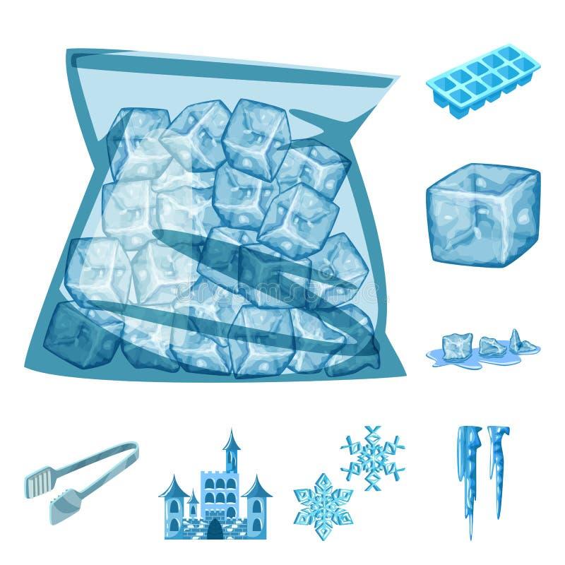 Απομονωμένο αντικείμενο του παγετού και του εικονιδίου νερού Σύνολο παγετού και υγρής διανυσματικής απεικόνισης αποθεμάτων ελεύθερη απεικόνιση δικαιώματος