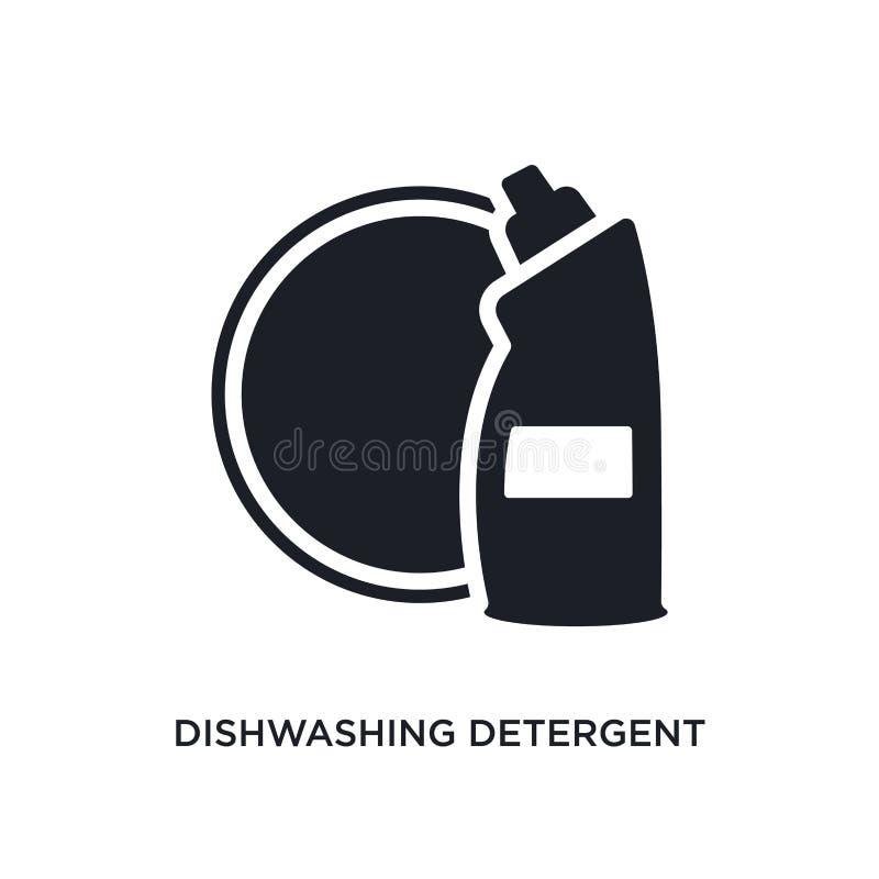 απομονωμένο απορρυπαντικό εικονίδιο πλυσίματος των πιάτων απλή απεικόνιση στοιχείων από τον καθαρισμό των εικονιδίων έννοιας καθα απεικόνιση αποθεμάτων