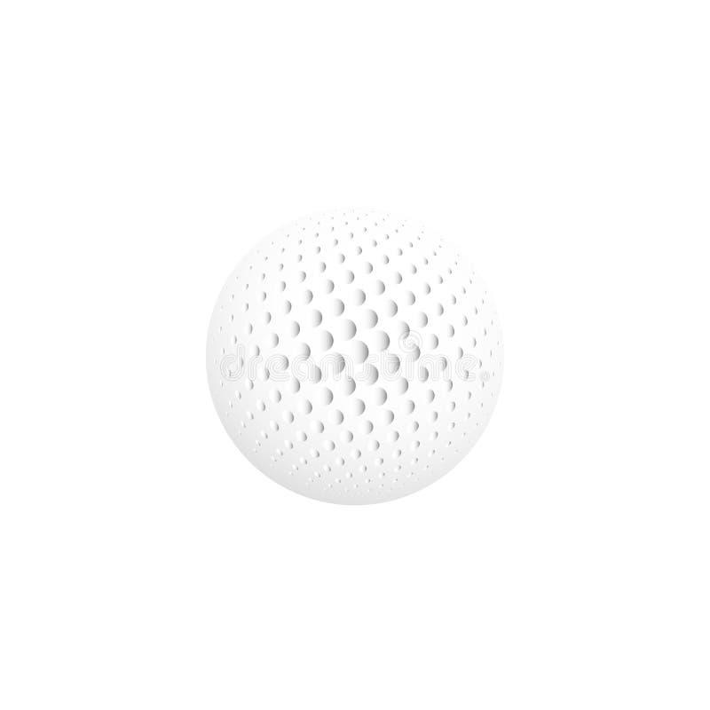 Απομονωμένο αφηρημένο άσπρο χρώμα γύρω από το λογότυπο μορφής, σφαίρα logotype, ρεαλιστική σφαίρα γκολφ στο άσπρο υπόβαθρο ελεύθερη απεικόνιση δικαιώματος
