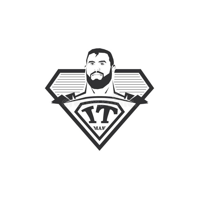 Απομονωμένο αφηρημένο γραπτό λογότυπο ατόμων ΤΠ Έξοχος ήρωας υπολογιστών logotype Κωμικό εικονίδιο Επαγγελματικό έμβλημα προγραμμ διανυσματική απεικόνιση